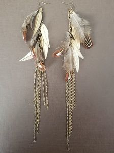 Long Brown Feather/Gold Leaf Fringe Earrings
